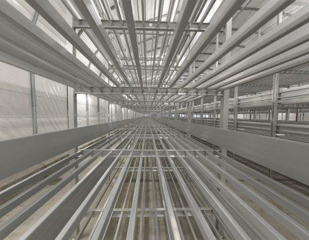 Bardzo długie aluminiowe regały do uprawy pieczarek