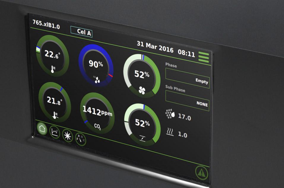 Экран контроллера Fancom Lumina с отображением климатических параметров на грибной ферме