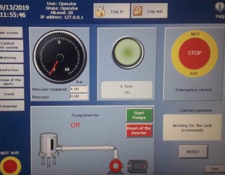 Ekran komputera sterującego nawadnianiem pieczarkarni